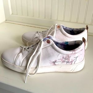 Cougar Bloom White Sneakers w Rose Gold & Florals